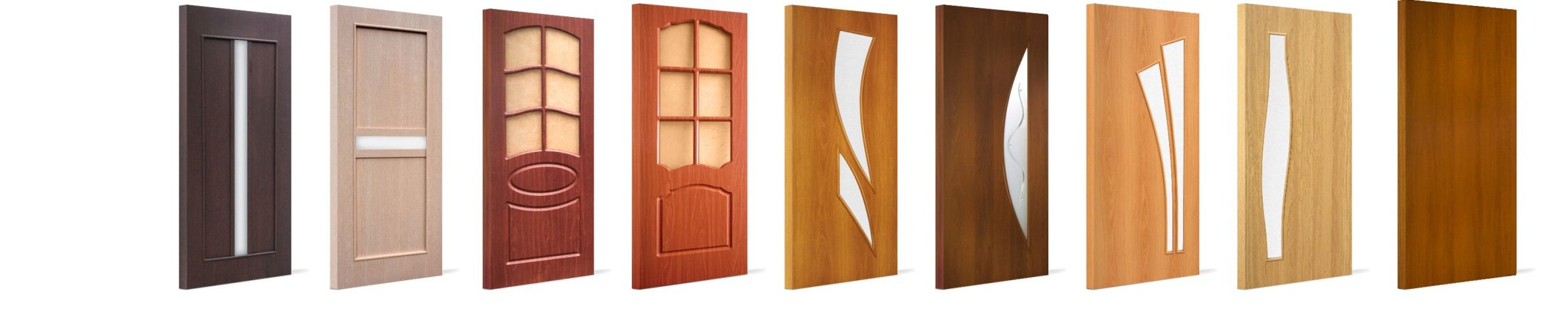 A huge variety of styles and designs and colors of wooden interior doors