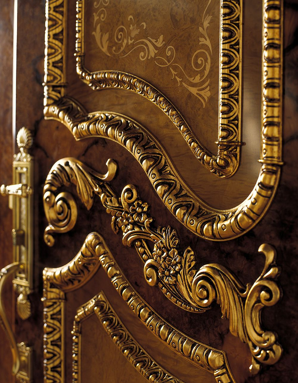 A luxury door leaf baroque for Baroque glass door