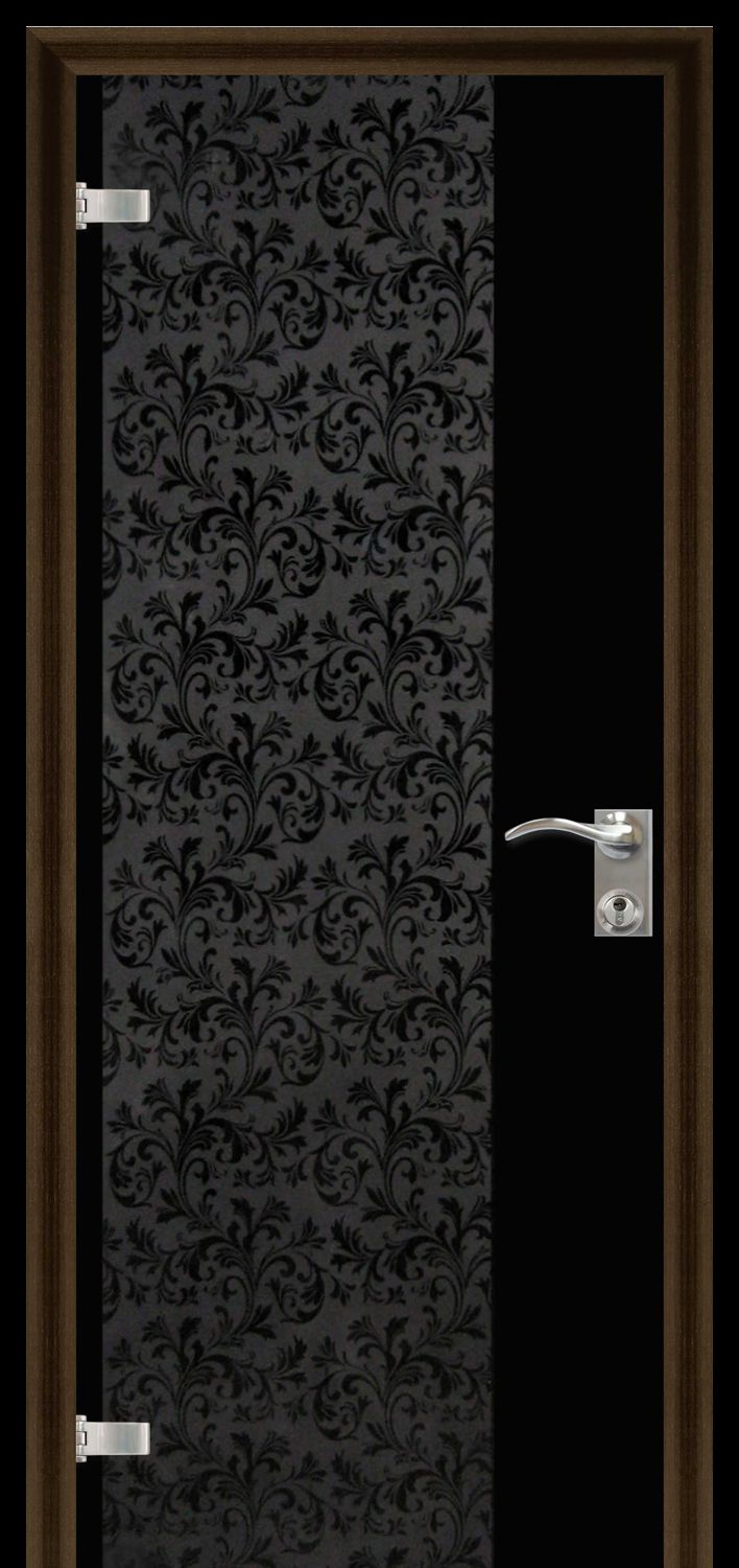 Black glass door with decorative glass fusing
