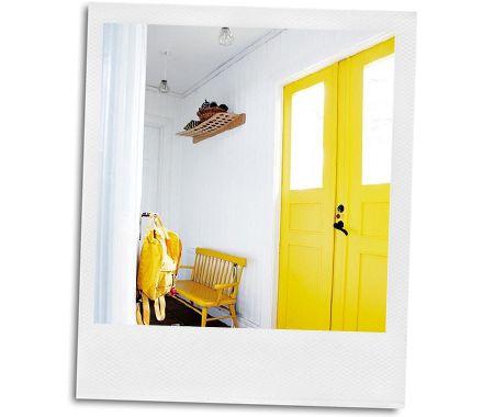 Glossy yellow front door