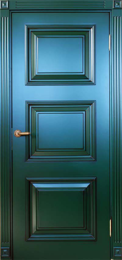 Green interior door made of solid wood