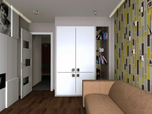 Interior design small rooms with white door