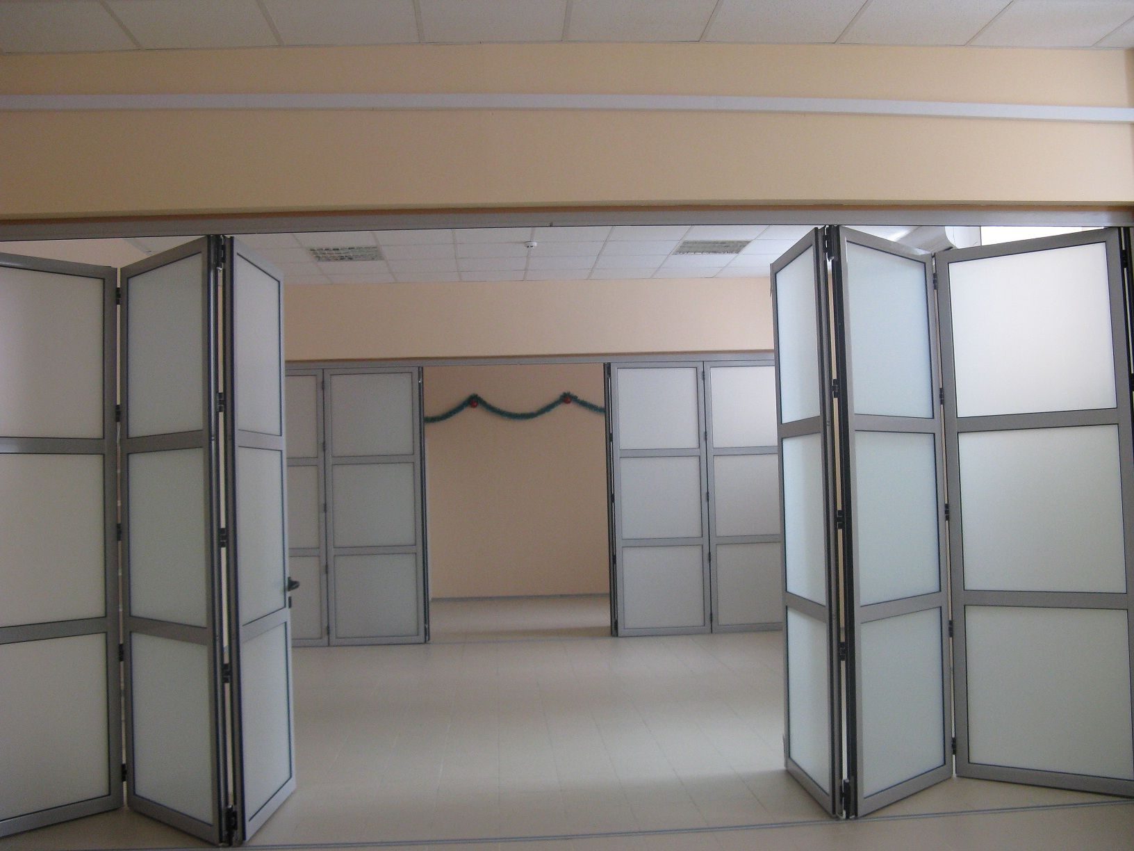 Large aluminum folding doors