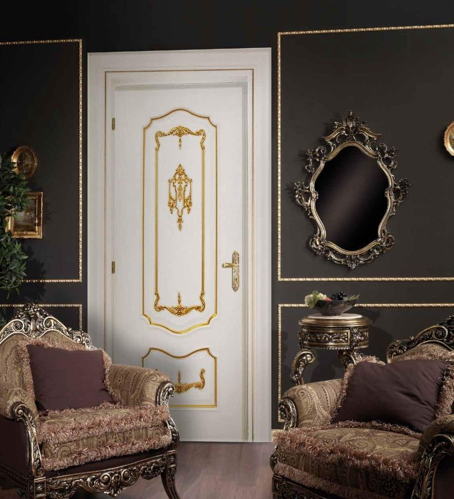 Luxury White Door In Baroque Style In A Dark Room Interior