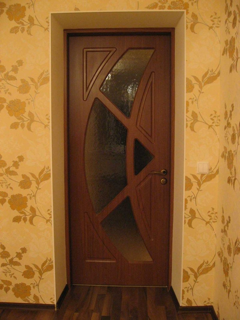 MDF wooden interior door modern style with glass