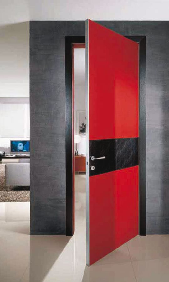 Modern interior door red color