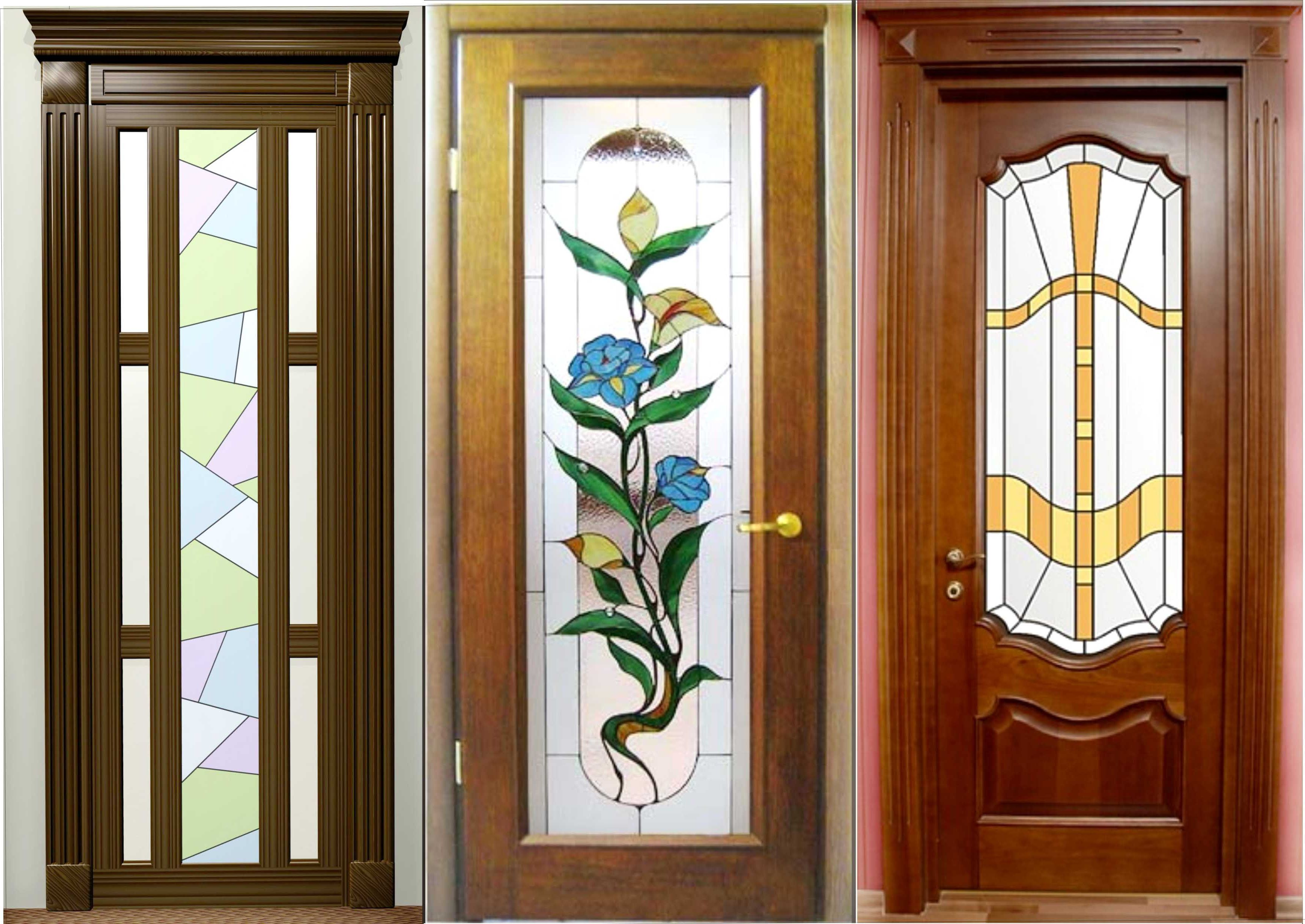 Modern wooden interior doors with stained glass