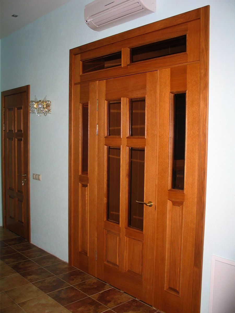 The door is made of wood