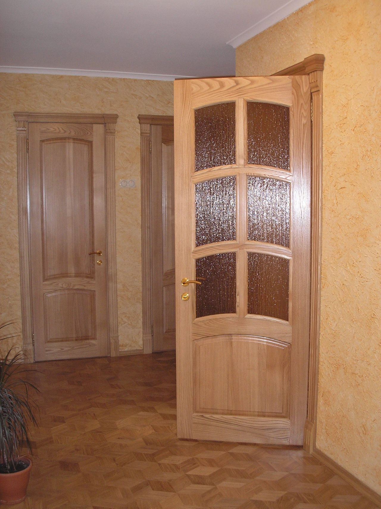 The wooden door lacquered