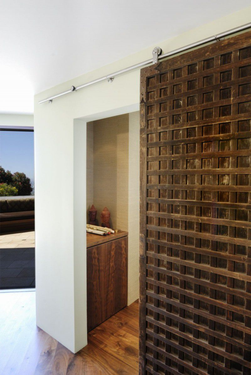 The wooden sliding door