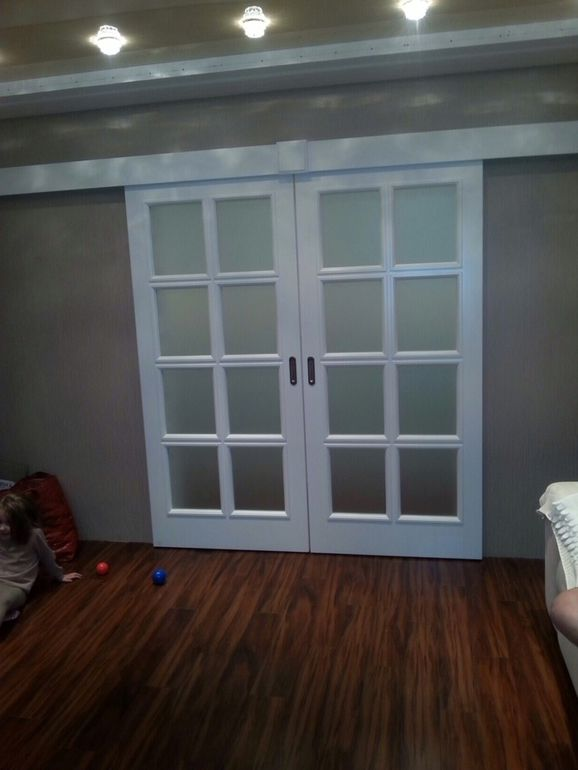 White interior door with glass