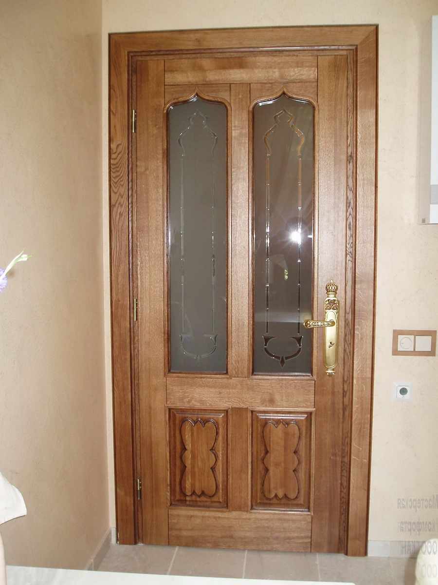 Wooden inside doors with glass