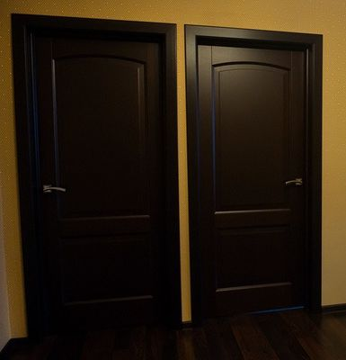 wooden interior doors painted with black paint. Black Bedroom Furniture Sets. Home Design Ideas