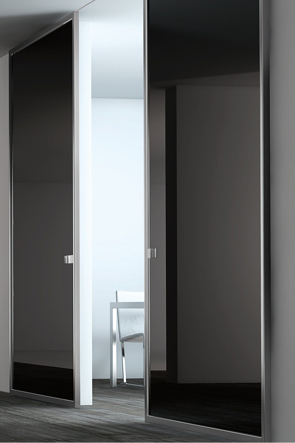 Aluminum black glass sliding interior door