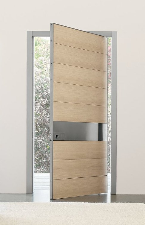Aluminum interior doors with wood inserts