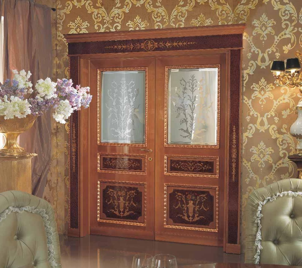 Modern wood and glass door for Baroque glass door