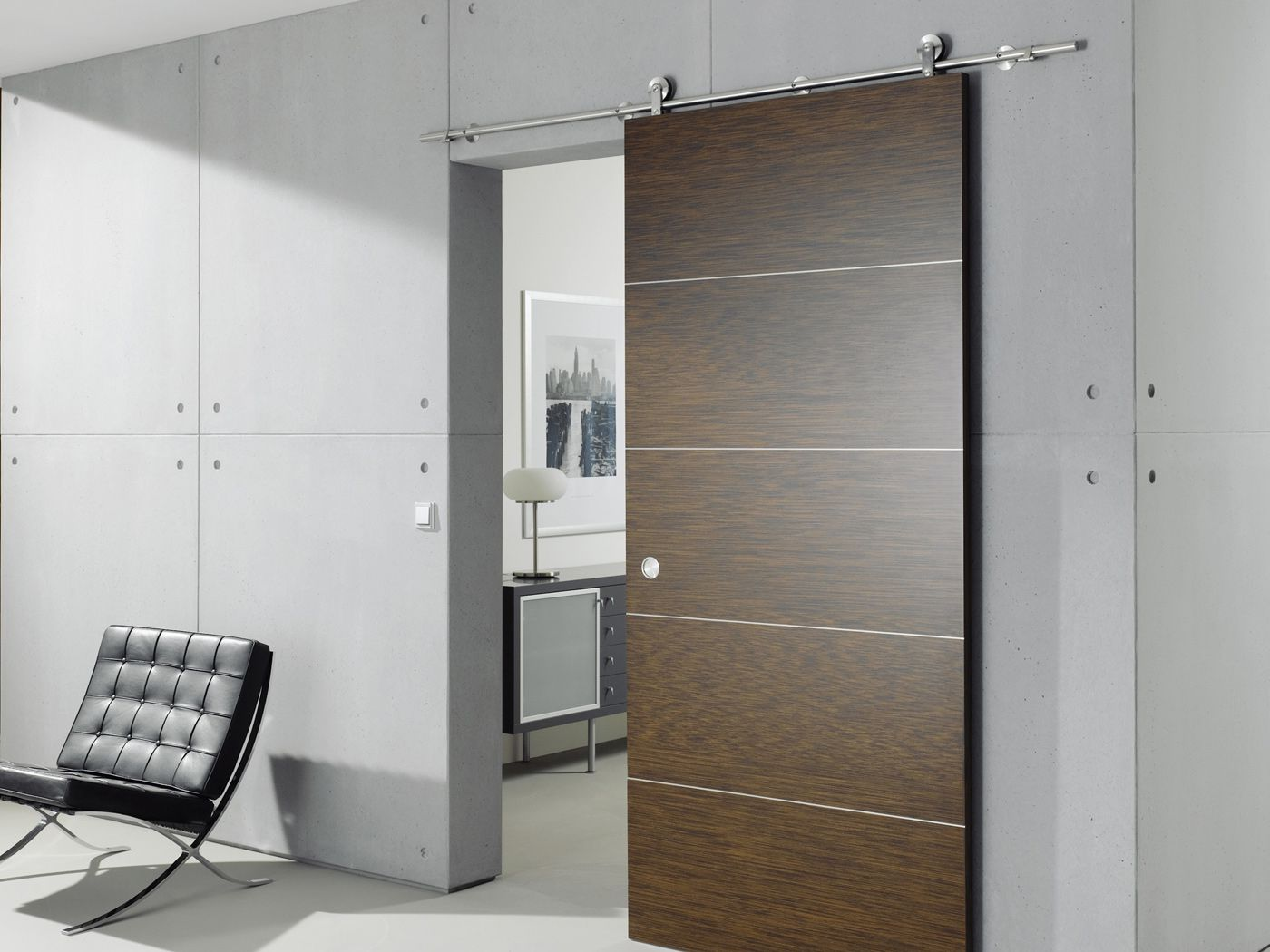 Dark wood sliding interior doors