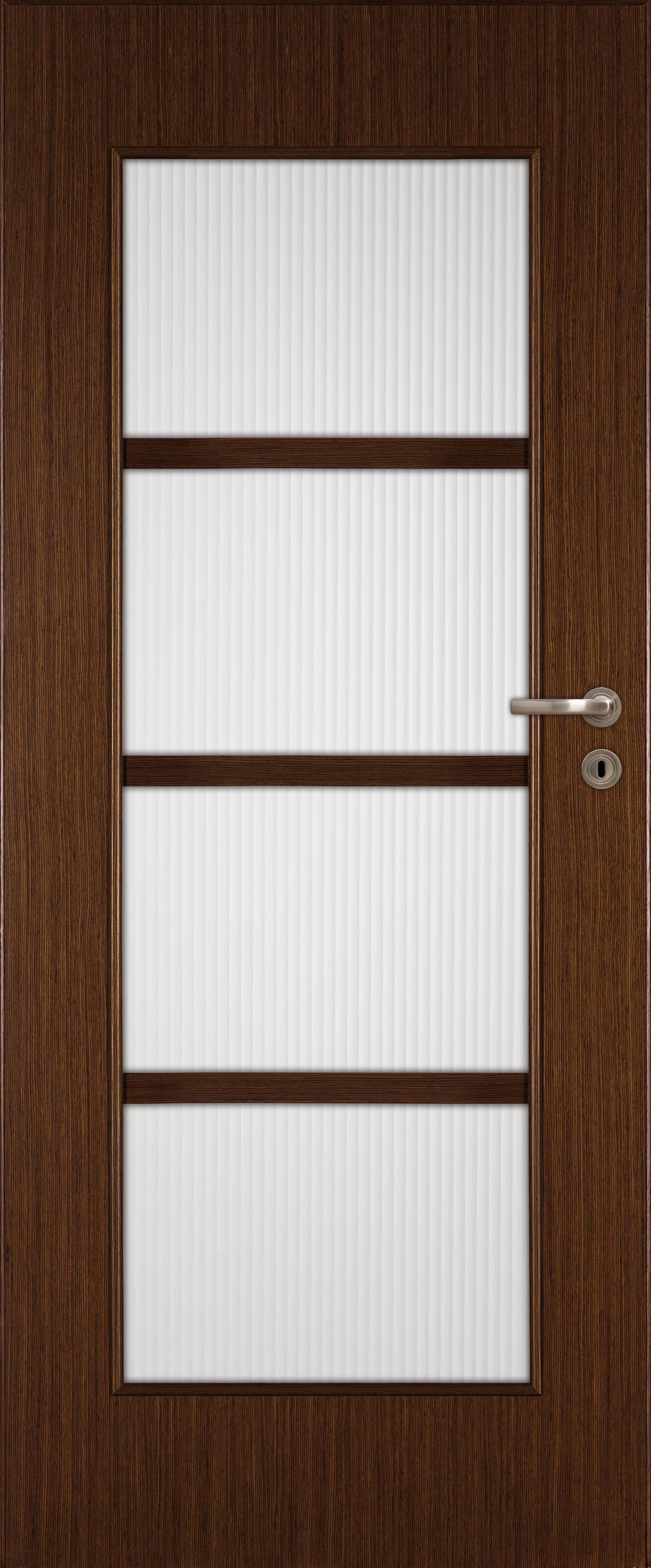 Dark wooden door in a modern style with four light-colored frosted glass