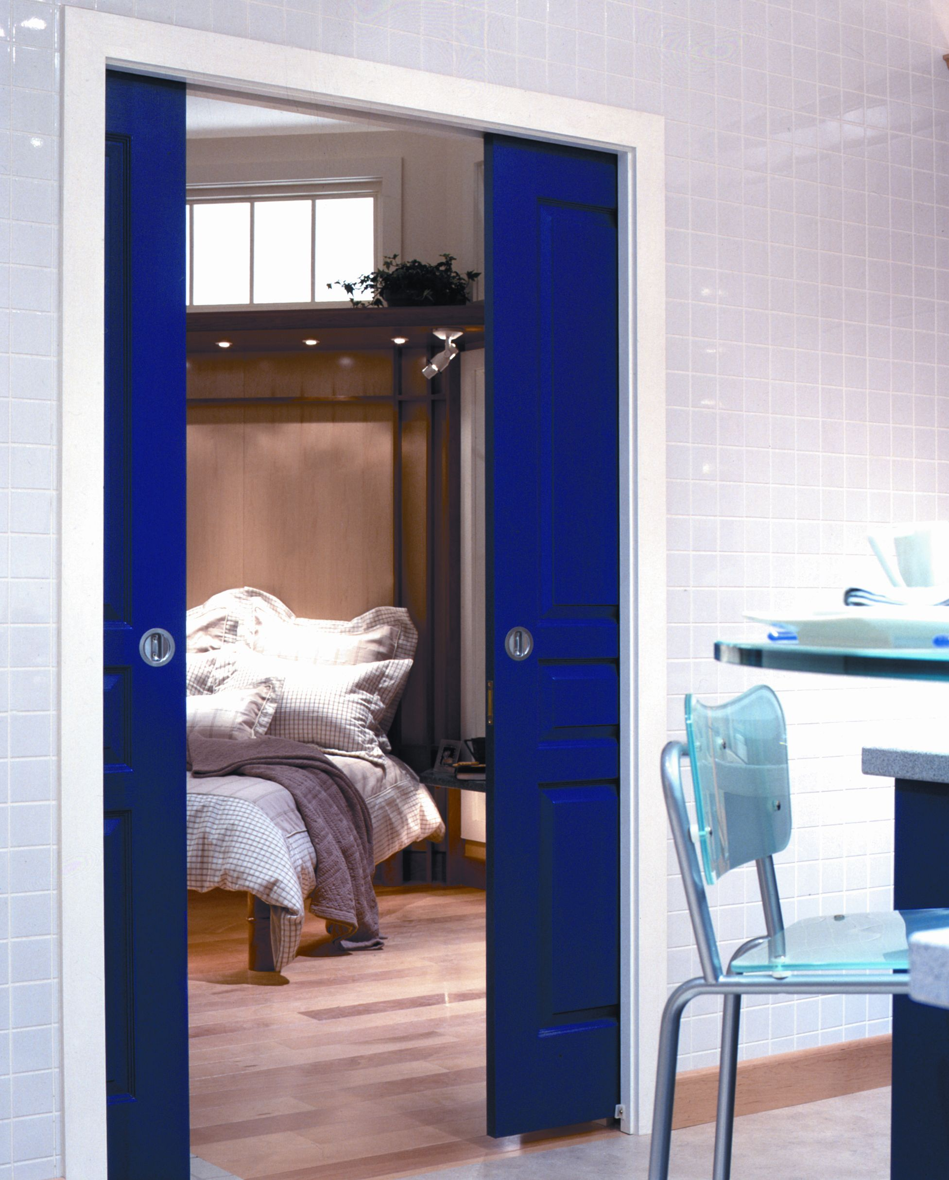 Double pocket doors blue