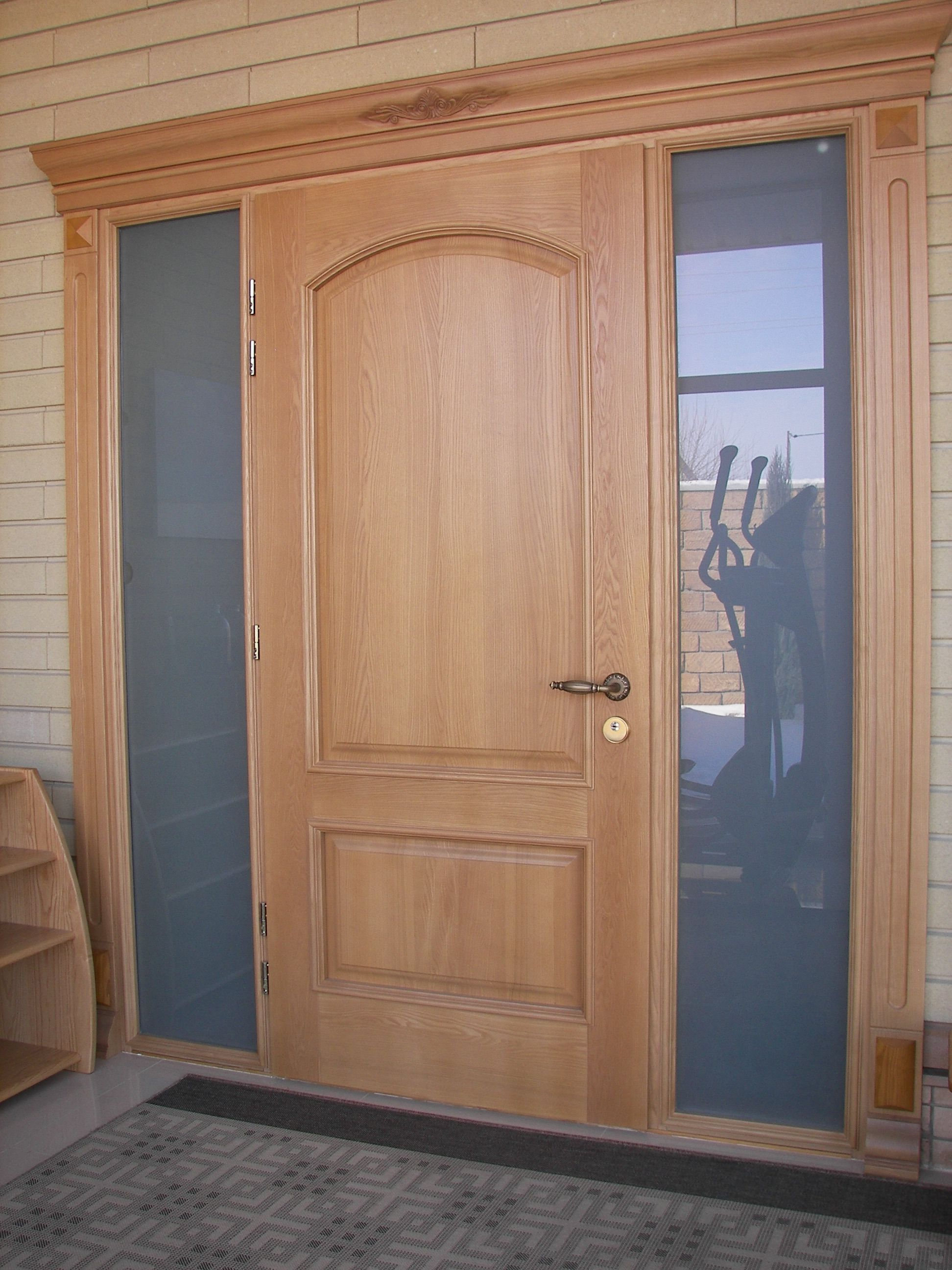 Entrance door made of wood