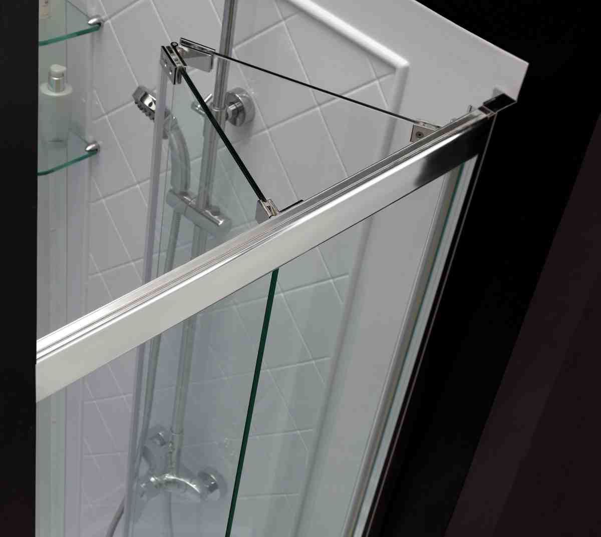 Folding glass doors for shower