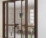 Folding wooden interior door