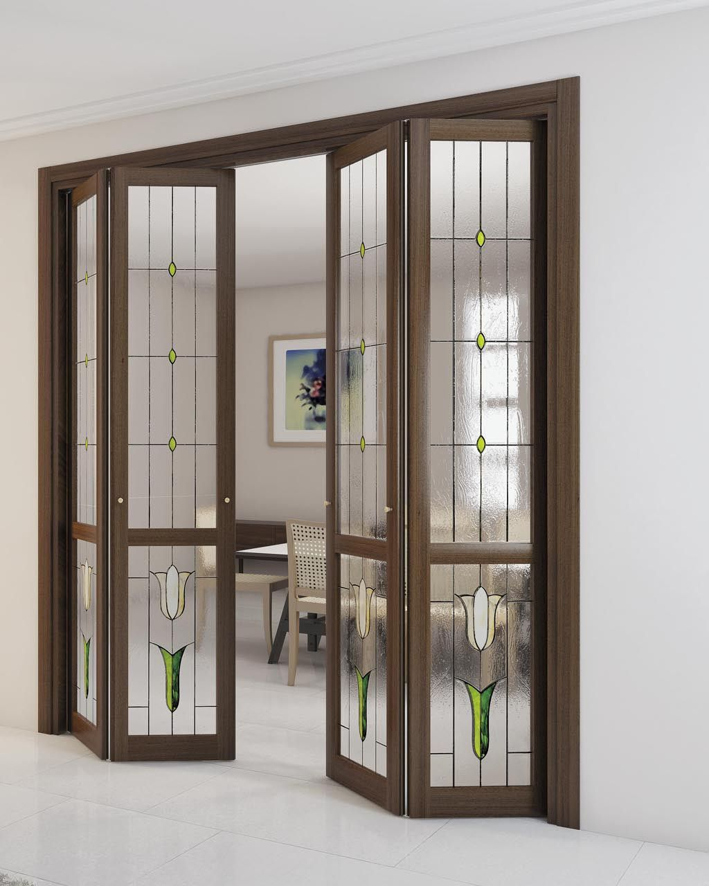 Folding wooden interior door