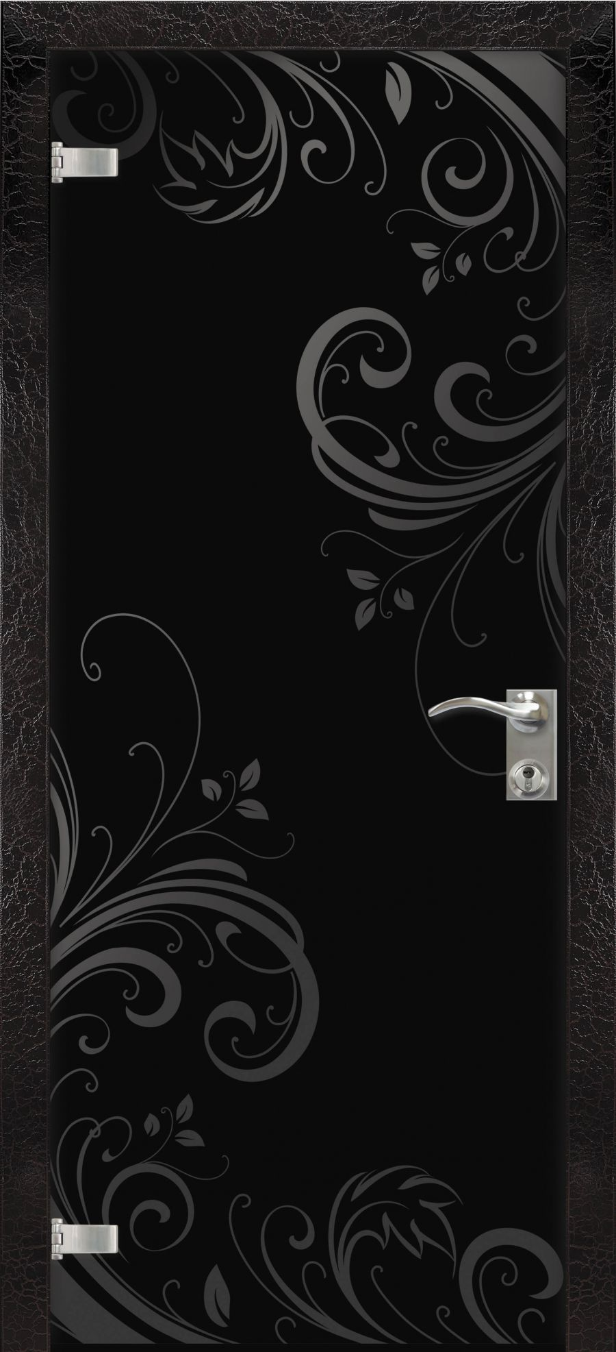 High-tech black glass door with patterns