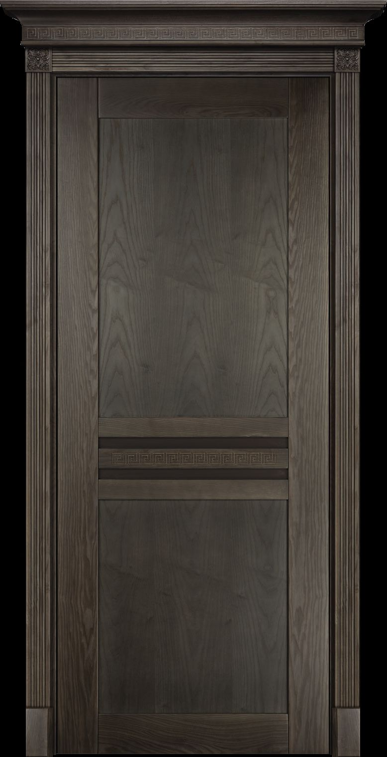 Hinged door made of wood covered with dark stain