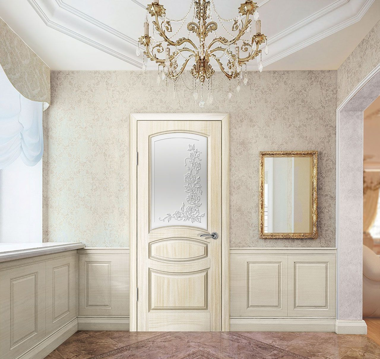 Classic Door Design palazzo peterhof 7015qqint casing with cyma louvre lacquered shaded blue with gold Interior Design In Bright Colors With Classic Wood Door With Glass Fusing