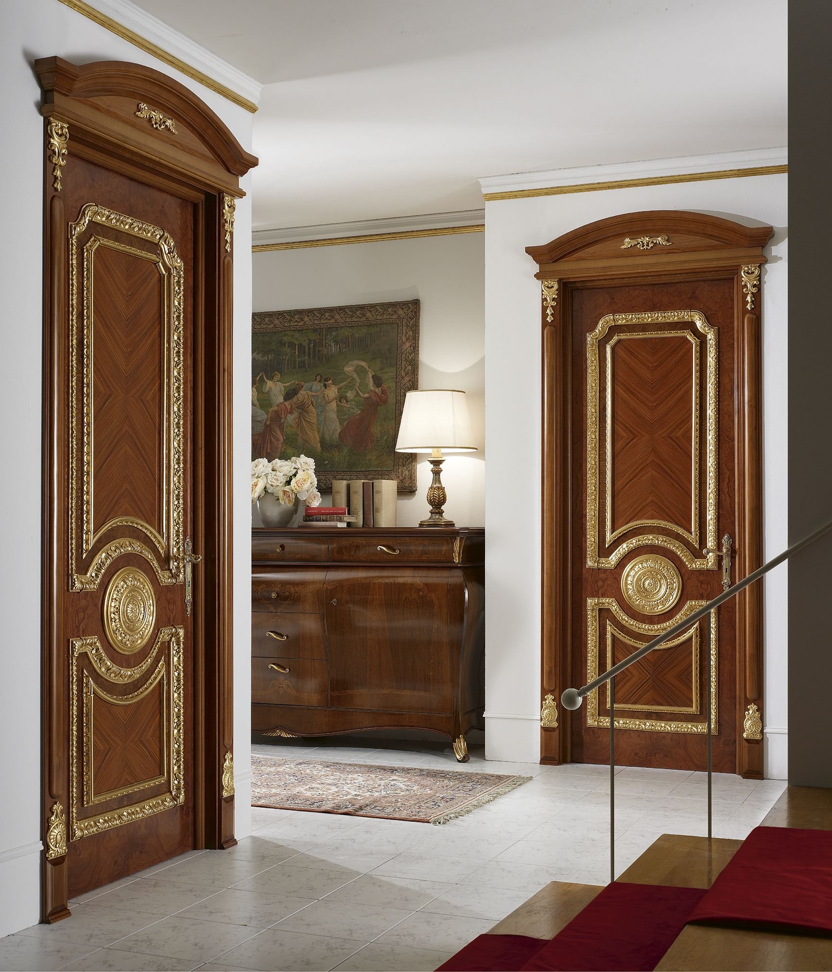 Luxurious interior design in a classic style with wooden for Interior design ideas for main door