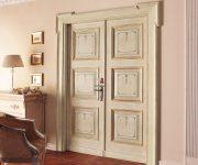 Massive classic double-wing wooden interior door in bright colors