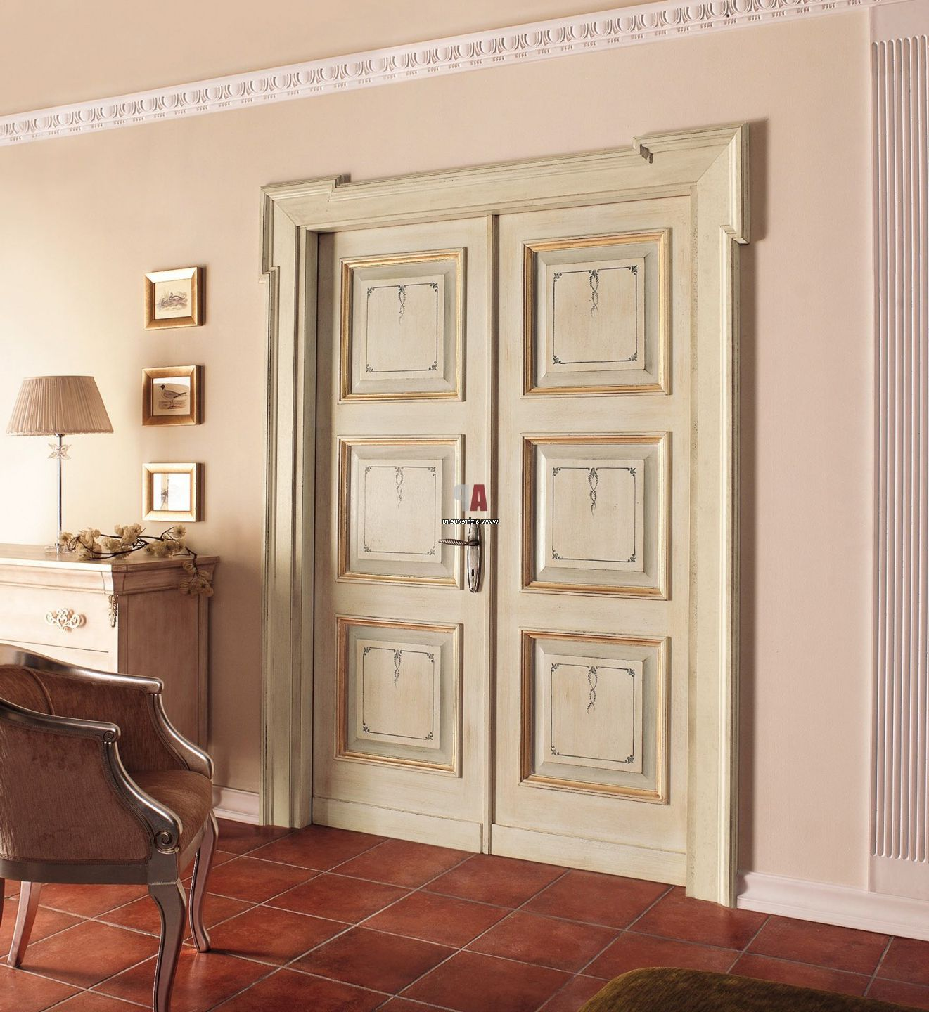 Massive classic double-wing wooden interior door in bright colors