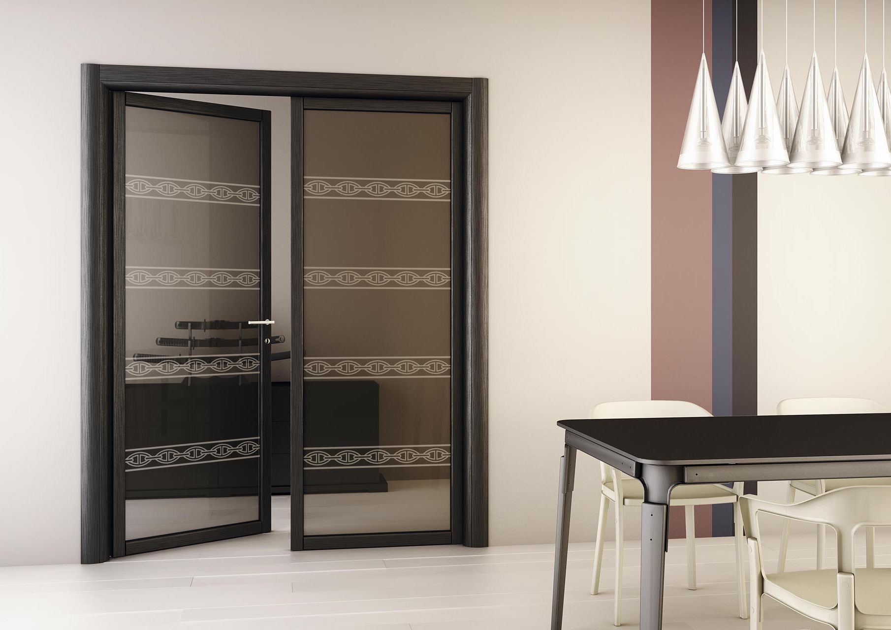 Modern dark glass double-swing doors