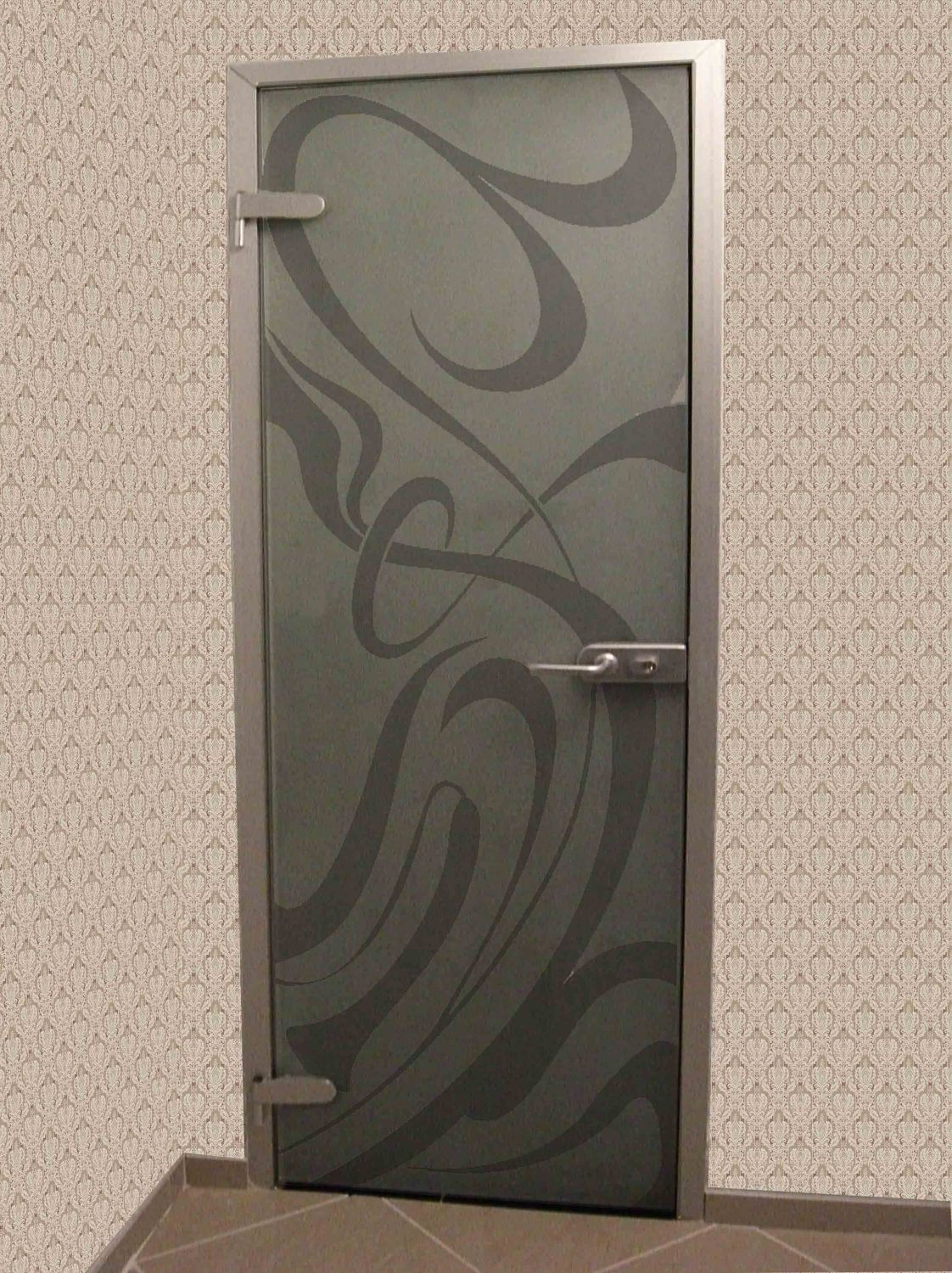 Modern grey door in high-tech style
