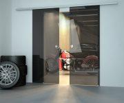 Modern high-tech glass door in a garage
