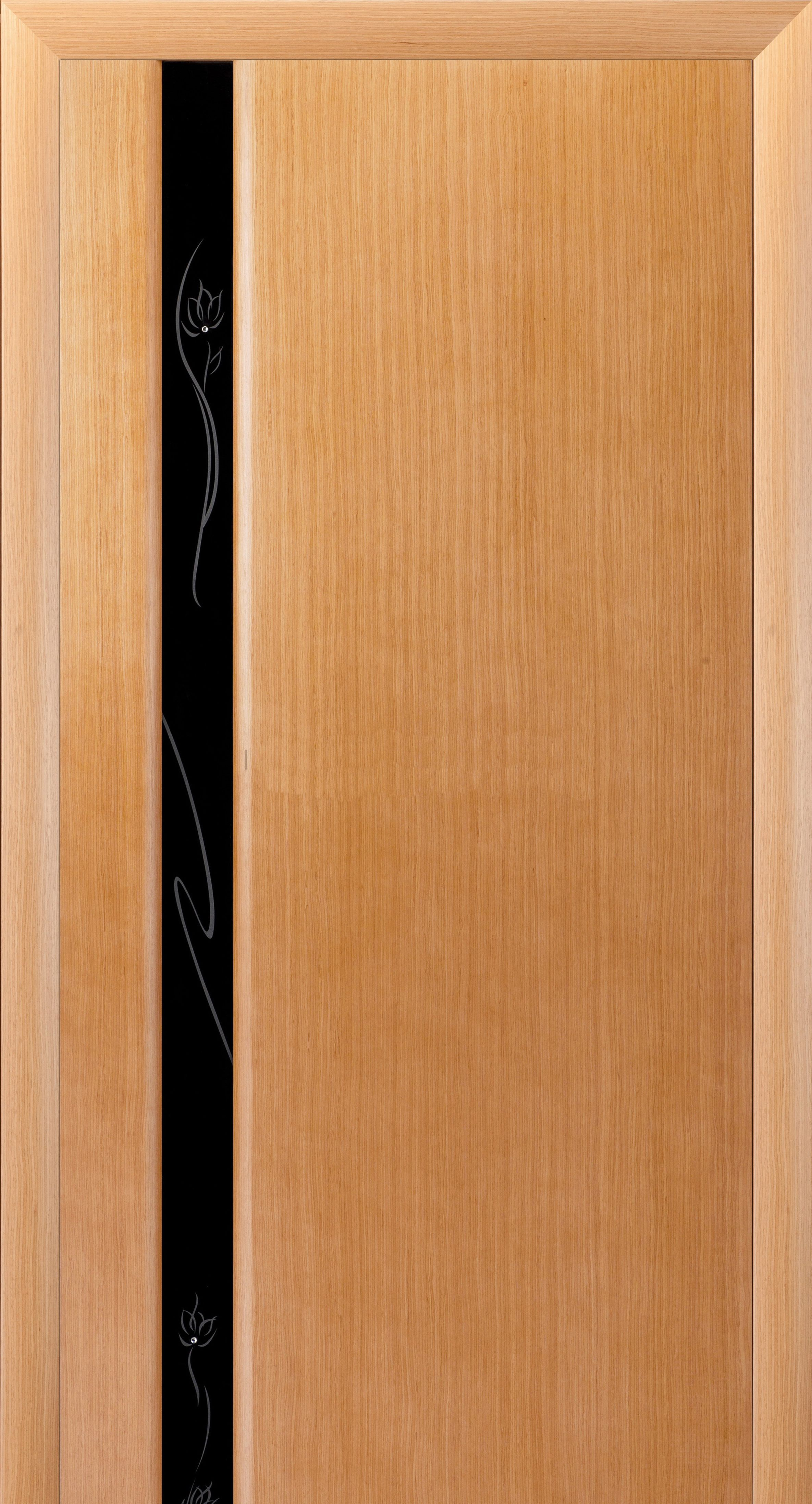 Modern interior door in bright colours with panels of dark glass