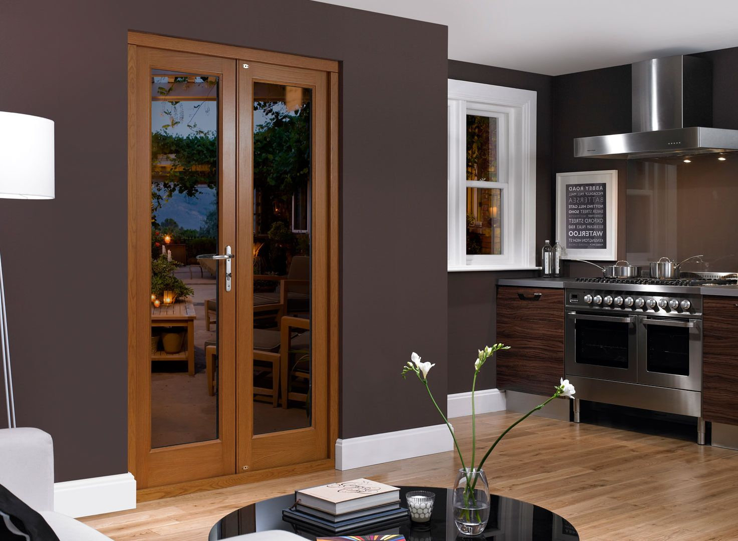 Modern Wooden Door With Glass For Kitchen