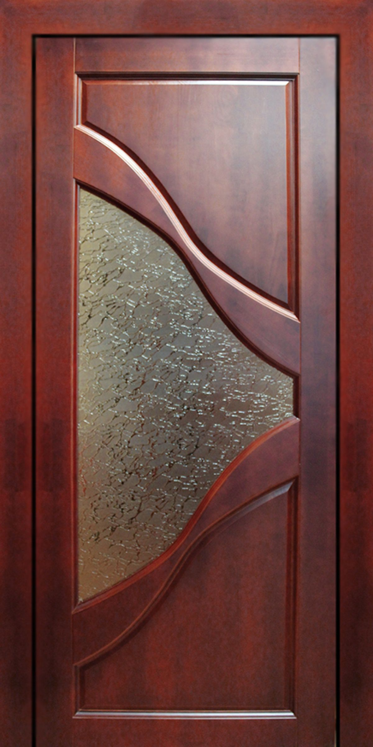 Modern wooden door with glass