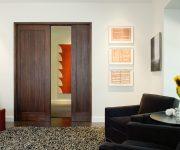 Solid wood pocket interior door