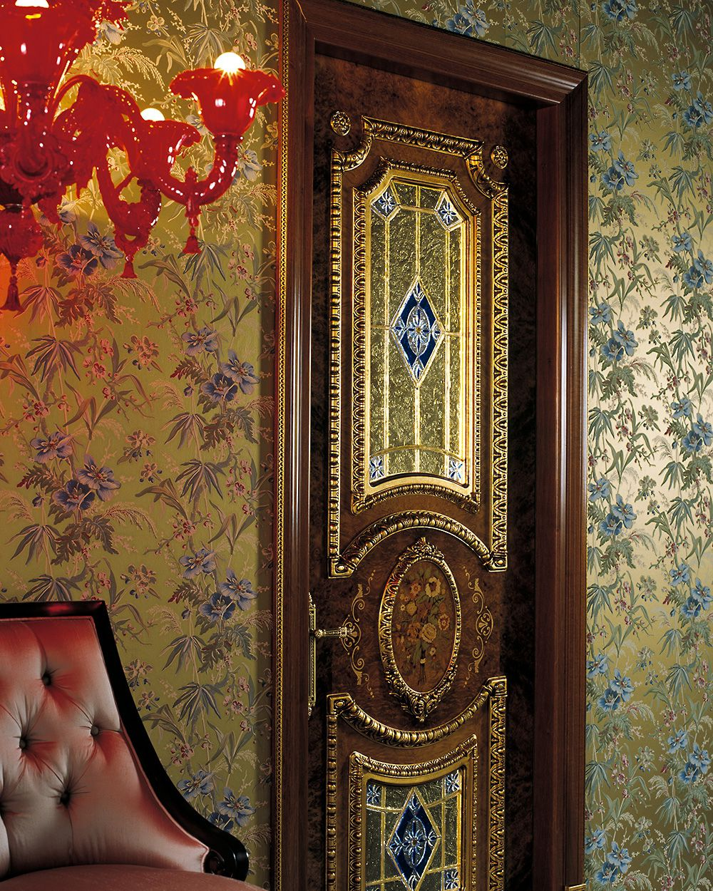 Luxury white door in baroque style in a dark room interior for Baroque fashion design