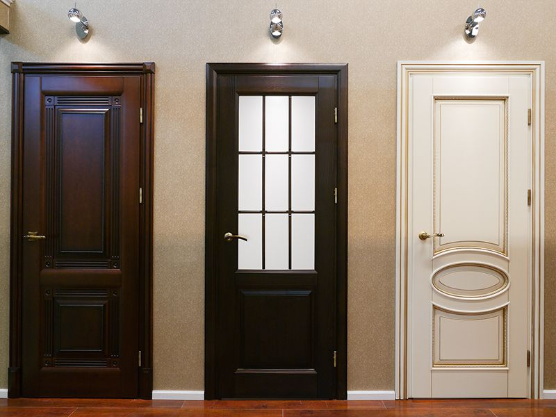 White black and brown interior doors