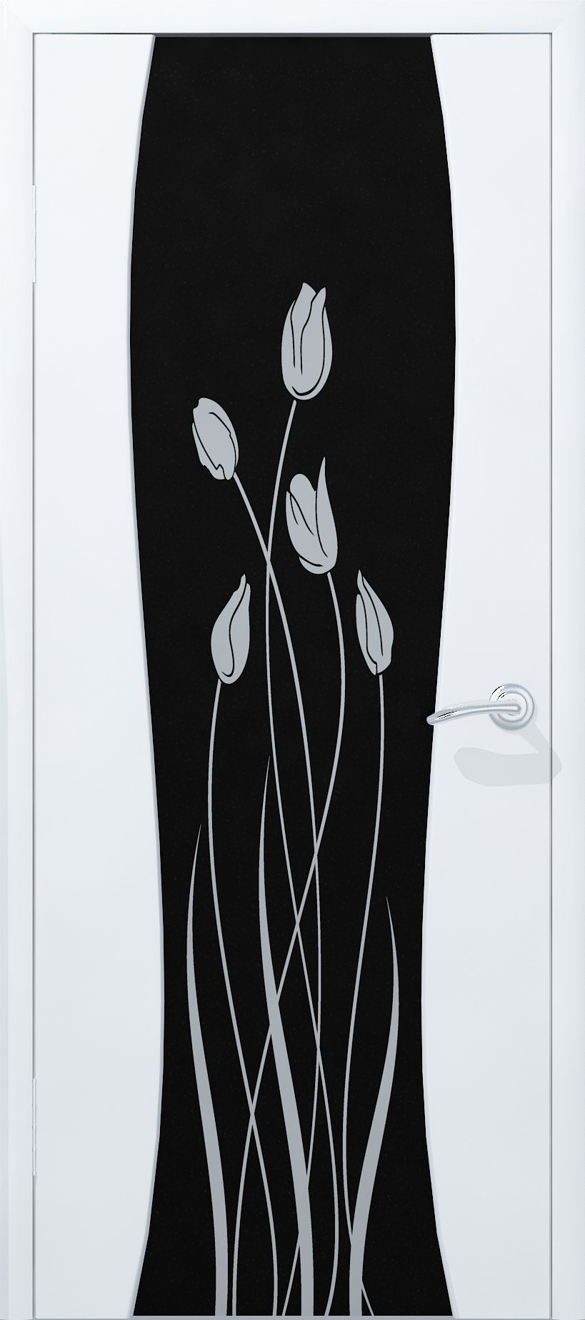 White door in the high-tech style with black glass with flower patterns