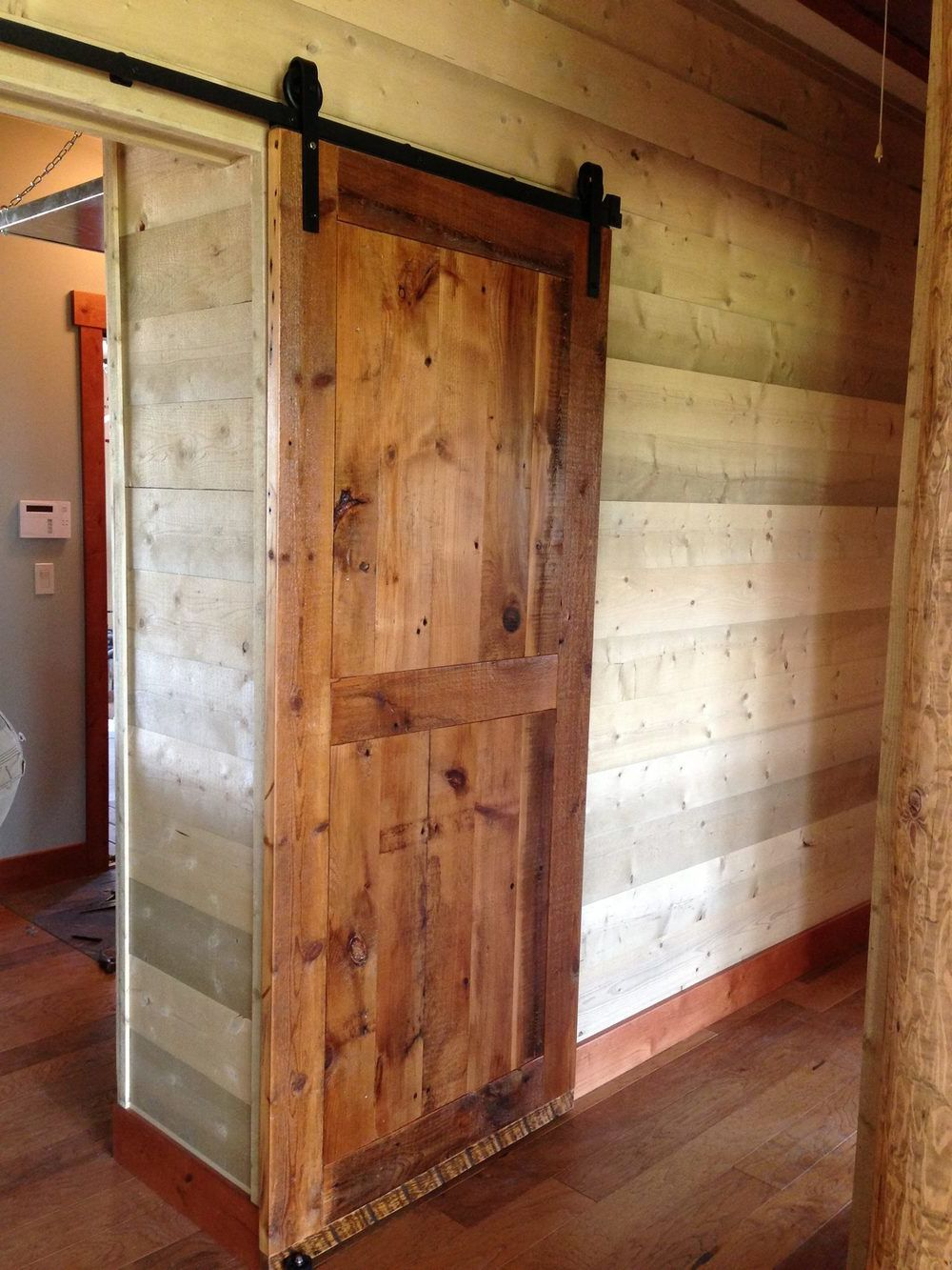 Wooden pocket door