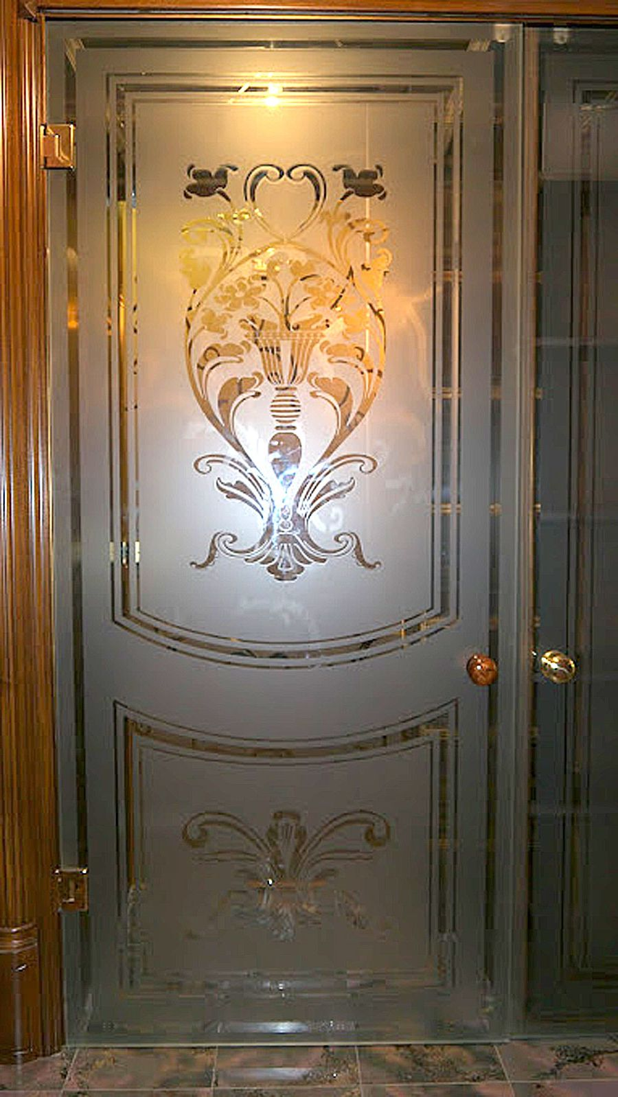 Luxurious glass interior door with vintage patterns