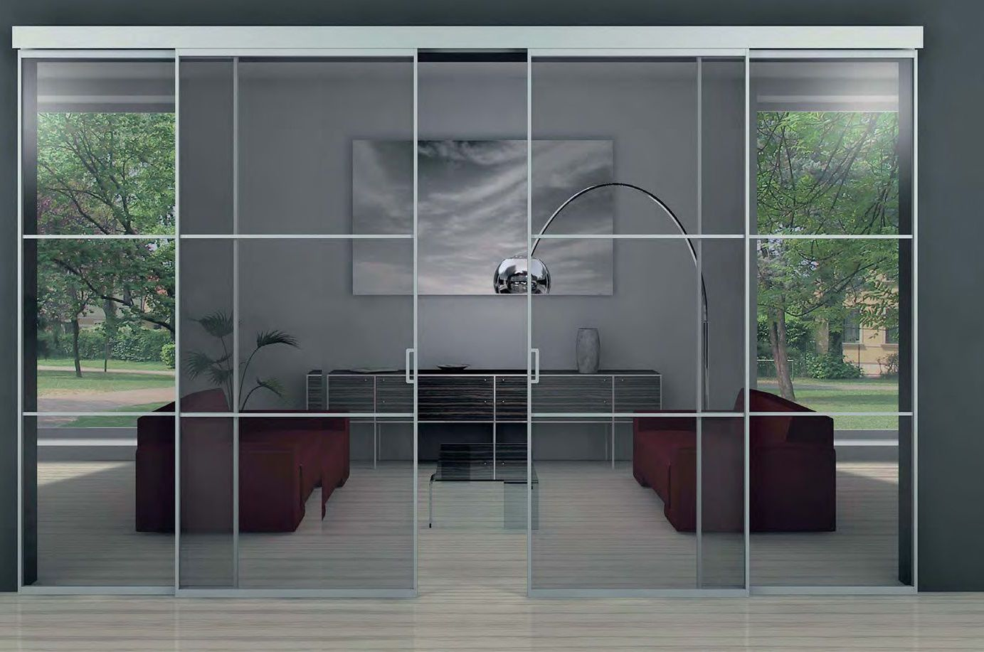 Modern dark patio glass doors