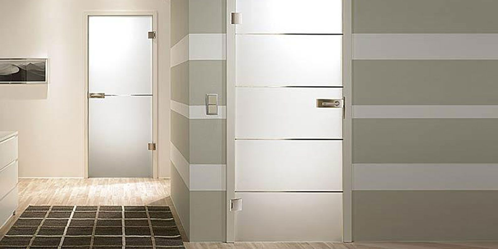 Modern glass door in bathroom and toilet for Bathroom entrance doors