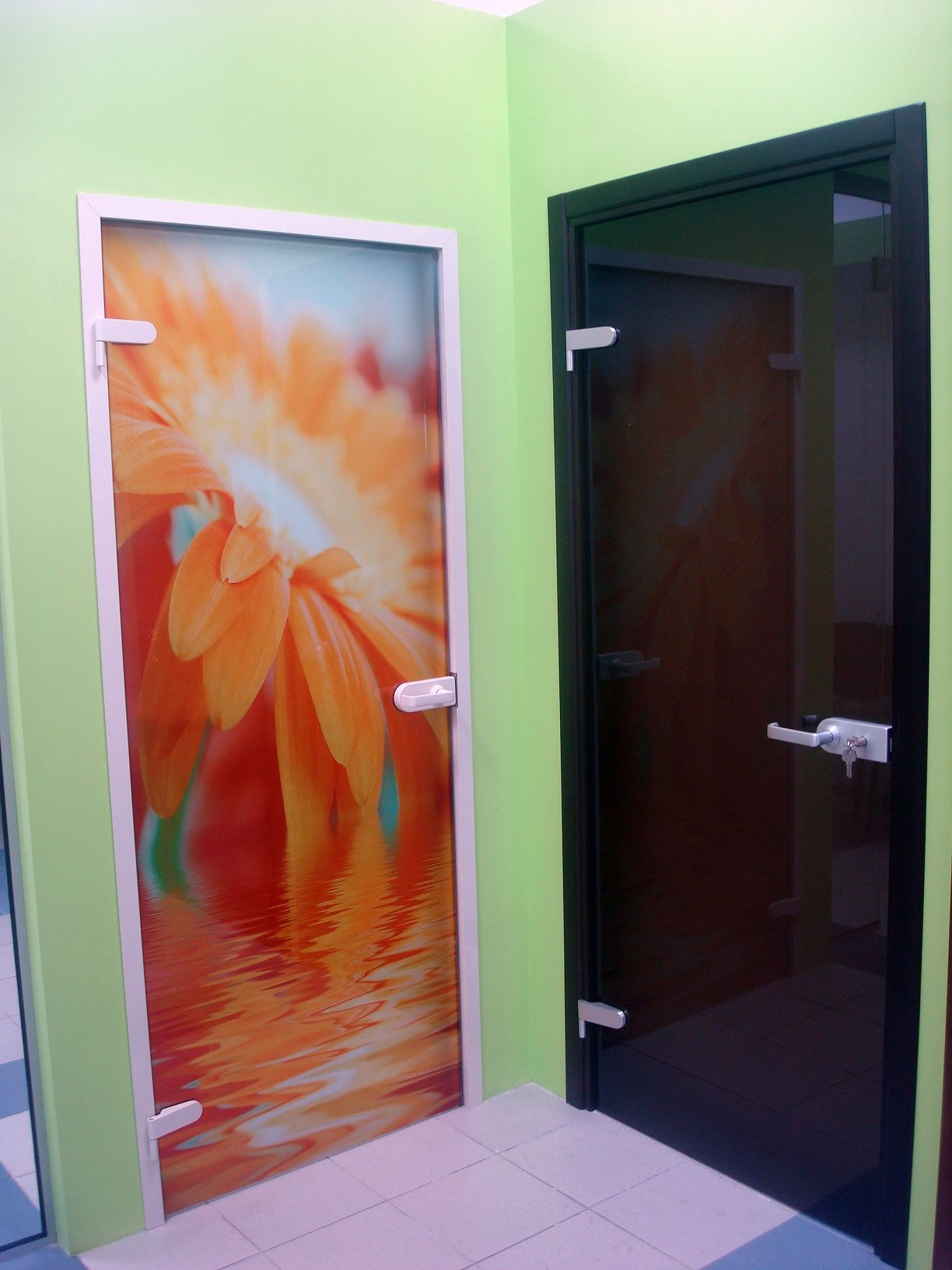 Orange glass door with flower pattern and brown glass interior door