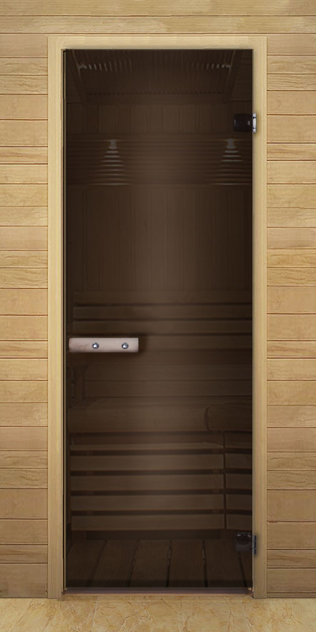 Brown Single-swing door to the sauna