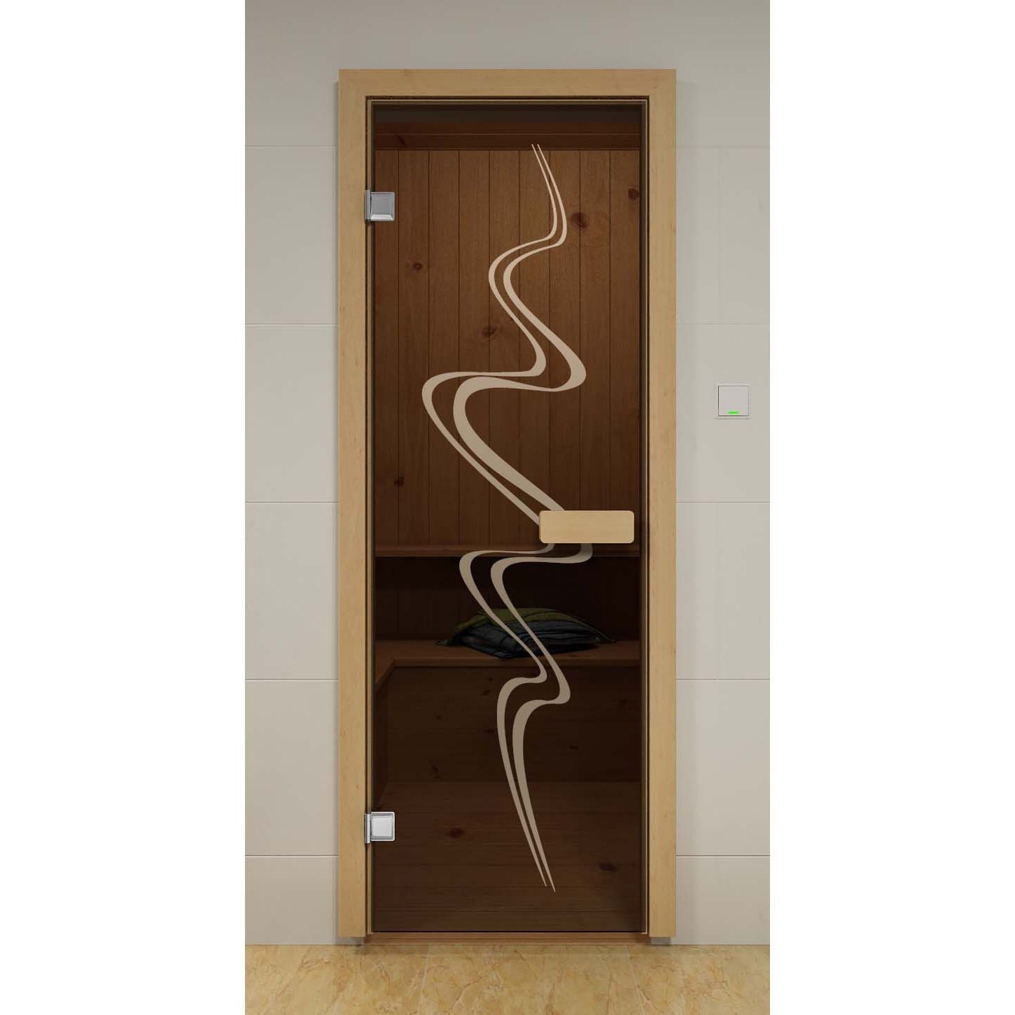 Dark brown glass door for sauna